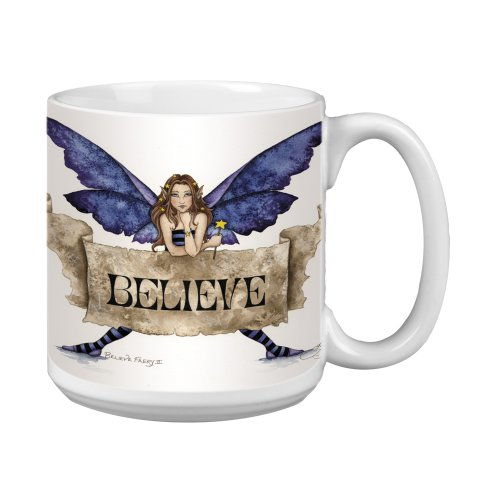 Tree-Free Greetings Xm27540 Amy Brown Artful Jumbo Mug, 20-Ounce, Sweet Believe Fairy