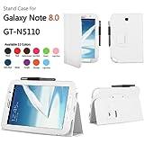 Mulbess Funda Inteligente para Samsung Galaxy Note 8.0 N5100 N5110 Funda con función de soporte(Cuero Sintético, Blanco)