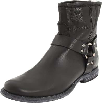 FRYE Women's Phillip Harness Ankle Boot, Black Soft Vintage Leather, 5.5 M US