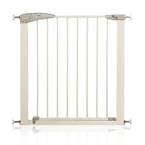 Lindam - Barrera de seguridad con puerta, color blanco por Munchkin - Bebe Hogar