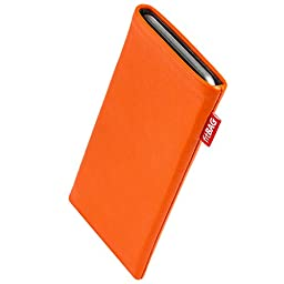 fitBAG Beat Orange custom tailored sleeve for Blackberry Priv. Fine nappa leather pouch with integrated microfibre lining for display cleaning