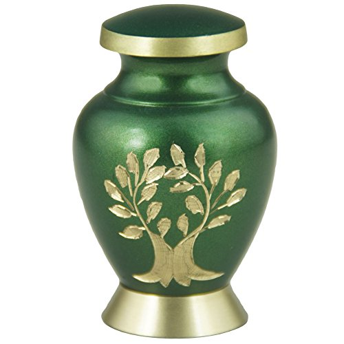 Mini Keepsake Funeral Urn- Brass Cremation Urns for Human Ashes Adult or Infant / Pet - Hand Engraved - Fits a Small Amount of Cremated Remains-Display Burial Urn at Home or Office (Aria Tree OF Life (Medium Size Urns For Human Ashes compare prices)