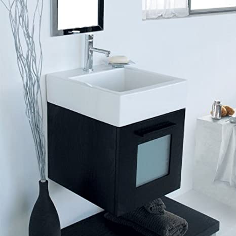 Lacava Wall-mount vanity with polished chrome pull and frosted glass insert in door; one drawer with U-shaped notch for plumb