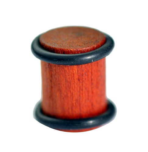 A 6mm (2 gauge) natural wooden flesh plug | This organic ear plug is made of a rich dark wood and comes complete with two O - rings which fit neatly into small grooves | Stretcher is sold as single earring