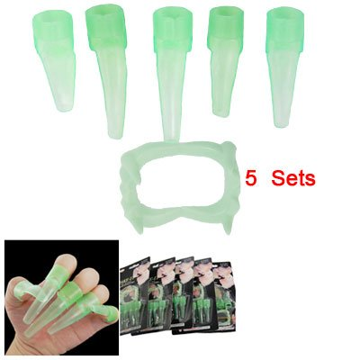 5 Sets Halloween Makeup Fluorescent Fingernails Teeth