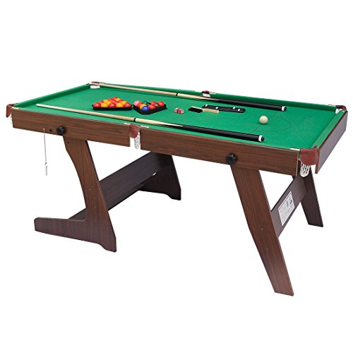 Hlc 6ft green billiards foldaway snooker pool table with for Pool table 6 x 3
