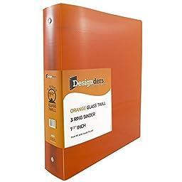 JAM Paper® Designders® - Plastic 3 Ring Binder - 1.5 Inch Width - Orange - Sold Individually