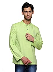 Dhrohar Green Khadi Cotton Full Sleeve Short Kurta for Men
