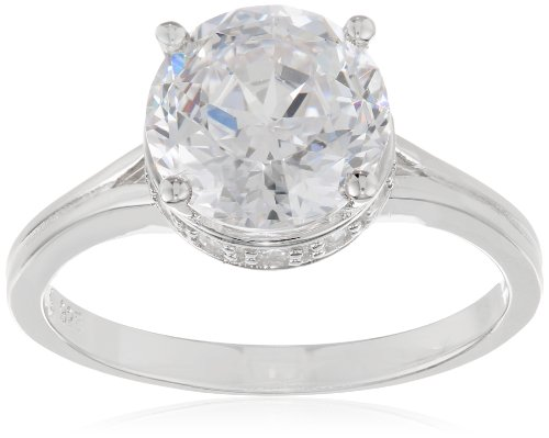 "Platinum Plated Sterling Silver ""100 Facets Collection"" Solitaire Cubic Zirconia Ring, Size 5"