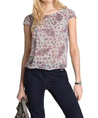 ESPRIT - Chiffon Bluse mit Paisley-Print 034EE1F037 Chemise Femme - Blanc (OFF WHITE) - FR : 36 (Taille fabricant : 34)