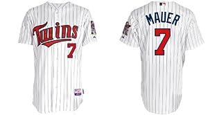Minnesota Twins 7# Mauer White Stripe 2011 MLB Authentic Jerseys Cool Base Jersey... by MLB