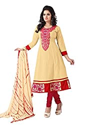 Soru Fashion Women's Cotton Dress Material (Shiv-1110_Beige _Free Size)