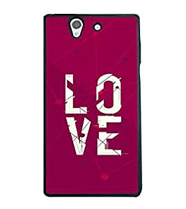 Fuson Premium Love All Metal Printed with Hard Plastic Back Case Cover for Sony Xperia Z