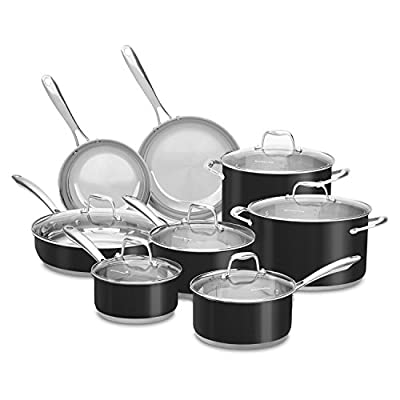 KitchenAid Stainless Steel Cookware Set (14 pc.) - Assorted Colors, pots , pans, frying pans, restaurant, commercial, industrial (Onyx Black)
