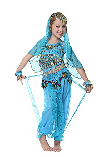 Seawhisper Kid's Belly Dance Girl Halter Top, Harem Pants, Halloween Costumes Set