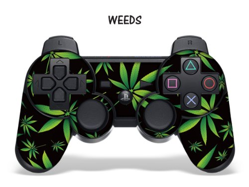 247skins Protective Skin For Playstation 3 Remote Controller - Weeds Black