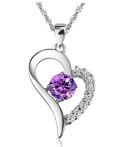 Women's 925 Silver Cubic Zirconia Amethyst Heart