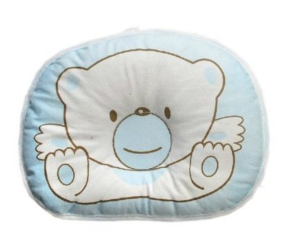Hot Newborn Baby Boy Girl Anti-Roll Pillow Flat Head Sleeping Positioner Bear (Blue)