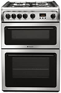 HOTPOINT 60CM BLACK DOUBLE OVEN GAS COOKER by Hotpoint