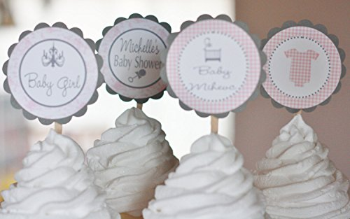 12 - Bodysuit Crib Rattle Chandelier Baby French Theme Shower Cupcake Toppers - Pink & Grey Toile Gingham - Party Packages, Favor Tags, Banners, Door Signs Available Toile Cake