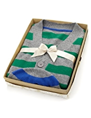 Pure Cashmere Striped Cardigan with Hat in Gift Box