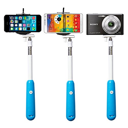 2014 New!!!Savfy® Blue *Build-In Bluetooth Shutter* Universal Selfie Self-Portrait Extendable Telescopic Handheld Pole Arm Monopod Camcoder/Camera/Mobile Phone Tripod Mount Cradle For Iphone,Samsung, Moto G,Htc, Nokia,Blackberry Etc.
