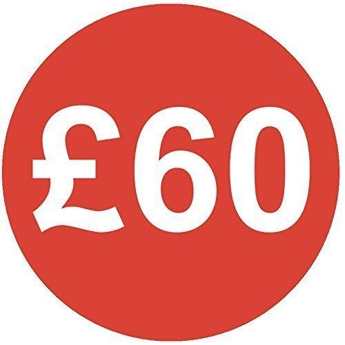 Audioprint Lot. 5000Lot de stickers Prix 60£30mm rouge