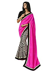 Status Pink Color Printed Saree On Bhagalpuri Silk Fabric.