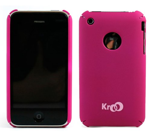 Apple Iphone 3G (Magenta) Rubberized Texture Polycarbonate Slim Fit Back Shell Case + Screen Protector
