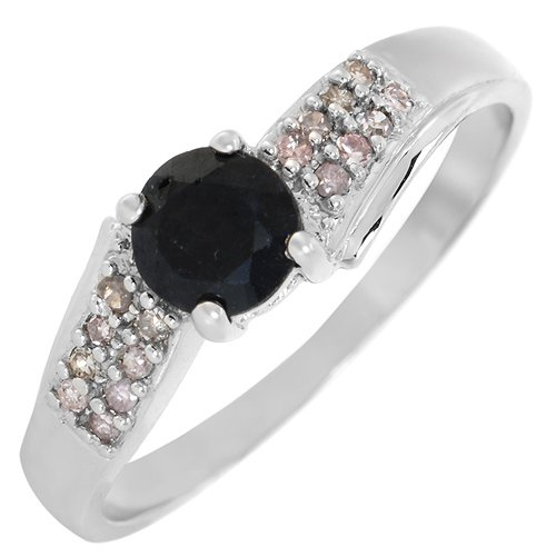 White Gold 0.62 CTW Sapphire and 0.09 CTW Color I-J I2 Diamond Ladies Ring. Ring Size 7. Total Item weight 2.20 g.