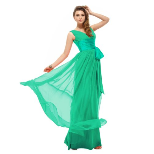 Sunvary Sexy V Neckline Bow Waist Chiffon Bridesmaid Dresses Formal Evening Dresses Long - US Size 4-Green
