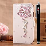 M LV HTC One X OneX Leather Diamond Bling crystal Folio Support Smart Case Cover With Card Holder & Magnetic Flip Horizontals - Pink Crystal Flowers