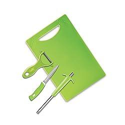 Anjali 4 Pcs Utility Set (1pc Royal Gas Lighter,1pc Knife,1pc Chopping Board,1pc Gilleto Peeler), Green