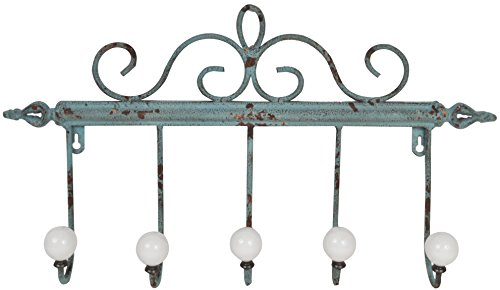 Distressed Metal Coat Rack with 5 Large Iron Hooks (Green) (Door Knob Rack compare prices)