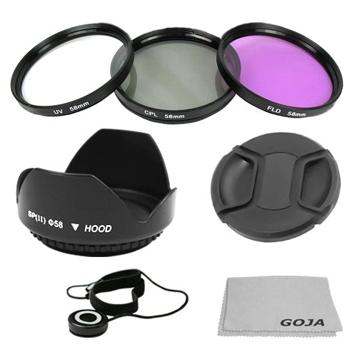 Essential Kit for CANON Rebel (T3i T3 T2i T1i XT XTi XSi), CANON EOS (1100D 600D 550D 500D 450D 400D 350D 300D 60D) - Includes: 58mm Filter Kit (UV, Polarizing, Fluorescent) + 58mm Tulip Flower Lens Hood + 58mm Center Pinch Lens Cap (w/ Cap Keeper) + 1 Premium Goja Microfiber Cleaning Cloth