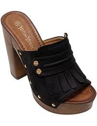 Maroon-03 Women S Woody Platform Chunky High Heel Fringe Studded Open Toe Clogs