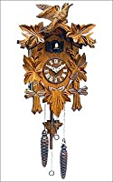 Black Forest German Cuckoo Clock with Leaves and Small Bird from ALEXANDER TARON INC