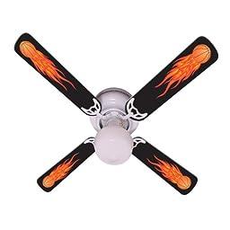 Ceiling Fan Designers Ceiling Fan, Flaming Basketball Balls, 42\