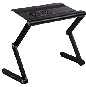 """Pwr+® PwrAir Adjustable Laptop Table Notebook Computer Desk Portable Bed Tray Book Stand with 2x Fans Cooling Pad Ergonomic Design Aluminium Alloy - Up to 17"""" - Black Fans by PWR+"""