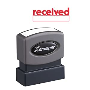 Xstamper One-Color Title Message Stamp, Received, Pre-Inked/Re-Inkable, Red (1223)