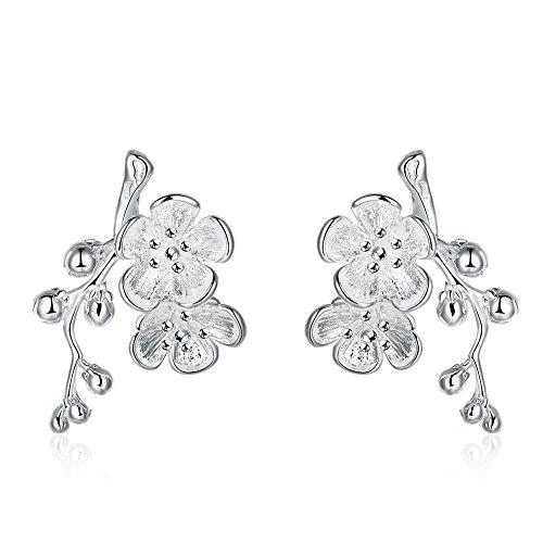 Womens Fashion Plum Flower Stud Earrings Blossom Exquisite Fashion Studs Earring (Plum Blossom Princess Costume)