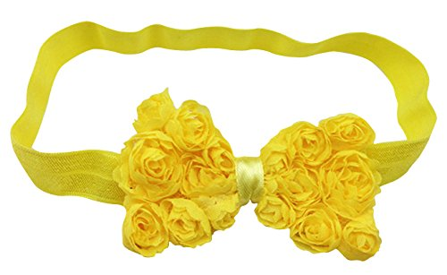 PinkXenia Yellow Elastic Rose Flower Newborn Babygirl Soft Headband