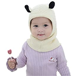 Bigface Up Baby Girls Boys Winter Hat Scarf Woolen Earflap Hood Scarves Skull Caps M