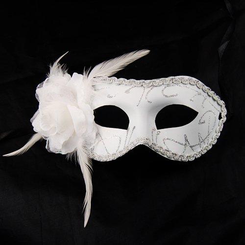 Party Feather Eye Mask Match Masquerade Venetian Fancy Dress White