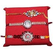 Handicrunch Rakhi Set With Bikaji Rasgulla Stunning Pair Stone Rakhi Set Of 3