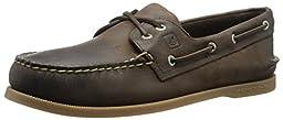 Sperry Top-Sider Men\'s A/O 2-Eye Cross Lace Boat Shoe, Dark Brown, 10 M US