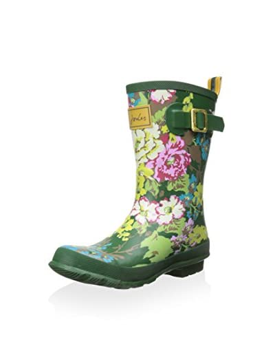 Joules Women's Mollywelly Rain Boot, Green Floral, 6 M US
