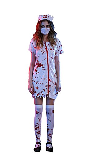 [SaiDeng Adults Bloody Nurse Skiller Scary Halloween Stage or Party Costume Nurse XL] (Cheap Maternity Halloween Costumes)
