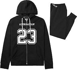 Country Of Azerbaijan 23 Team Sport Jersey Sweat Suit Sweatpants Large Black
