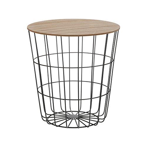 Trendiger-Beistelltisch-aus-Metall-und-Holz-Praktischer-Stauraum-6-Farben-whlbar-Schwarz